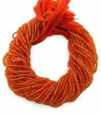 """5 Strand Natural Carnelian Gemstone Faceted Rondelle Beads 3.5-4mm 13.5"""" Long"""