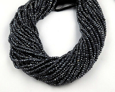 """5 Strand Black Spinel Silver Coated Faceted Rondelle Beads 3.5-4mm 13.5"""" Long"""