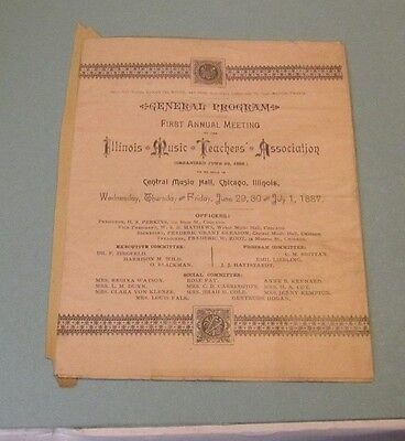 1887 Illinois Music Teachers Association First Annual Meeting Program HS Perkins