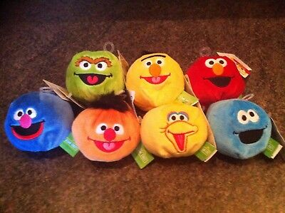 Sesame Street Bean Bags by Gund x 7 inc Cookie Monster,Elmo & Big Bird with Tags