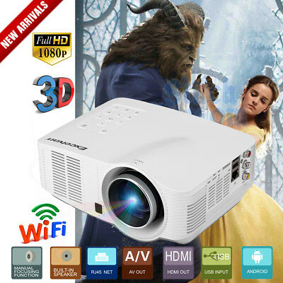 Mini Proyector LED Wifi Android 3D Projector 1080P FULL HD AV/HDMI/USB/SD New ES