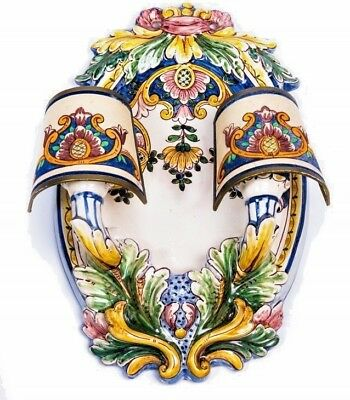 """Majolica Wall Sconce Hand Painted Portugal 2 Light Covers 14"""" High White Multi"""