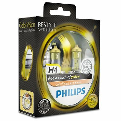 PHILIPS H4 ColorVision Yellow Headlight Bulb 12V 60/55W P43t-38 12342CVPYS2 Twin