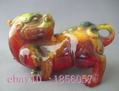 Collection old Manmade Amber Resin Carved animal beast Brave troops Pixiu statue