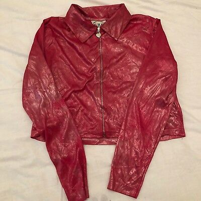 Vintage Hot Pink Y2K Zip Up Top With Heart Zip 90's Cyber Rave Spice Girls M