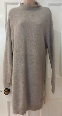 Beautiful Marks & Spencer's Grey 100% Cashmere Ribbed Jumper Dress Size 22
