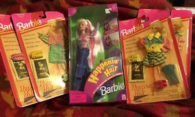 Barbie Happenin' Hair Doll and 4 Happening Hair Fashion Packs-Rare Complete Set