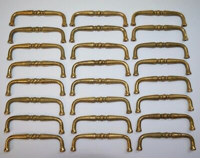LOT/SET of 24 Vtg Solid Brass Cabinet Dresser Drawer Handle Pulls
