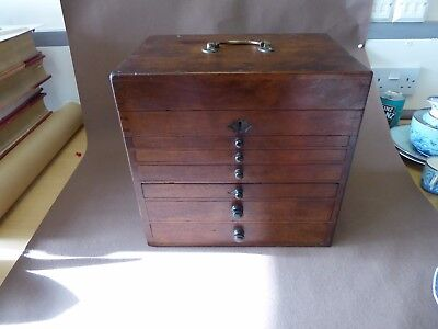 Antique Victorian 19th century collectors coin cabinet