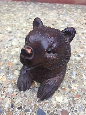 Antique 19th Century Detailed Carved Wooden Black Forest Bear Inkwell