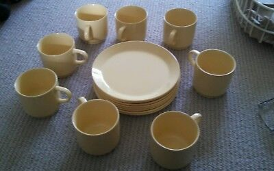 Johnson Brothers Of Australia Set Of 8 Plates & Cups Yellow. Made In Australia
