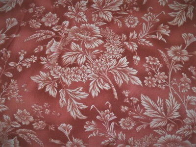 Fat Quarter Around Town Red Floral Cotton Quilting Fabric  Red Rooster