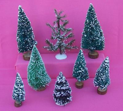 8 Vintage Bottle Brush Christmas Trees Holiday Decorations Village Accessory