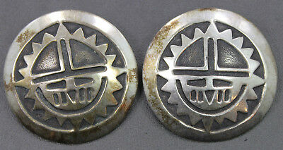 Sterling Silver Ronnie Hurley Navajo Round Overlay Sun Face Earrings