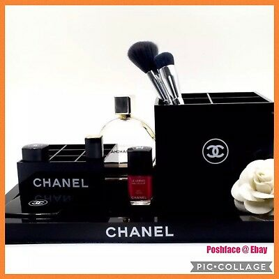 Chanel Vanity 3pc Set Makeup Table Set Or Fashion tray Organizer case