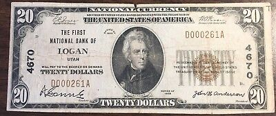 1929 $20 First National Bank of Logan, Utah CH#4670 National Currency
