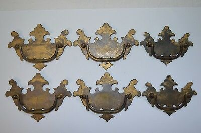 LOT of 6 Vtg Brass Dresser Drawer Handle Pulls Dirty & Painted Rustic