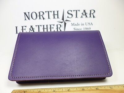 North Star Purple Top Stub 6+ C. Cards Leather Checkbook Cover-Made In USA#133