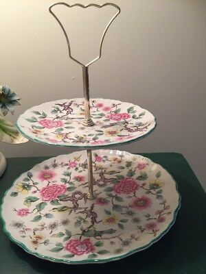 Vintage Old Foley James Kent Chinese Rose 2-Tiered Serving Tray Tidbit Platters