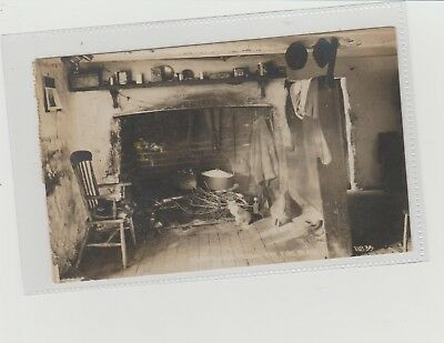 Dartmoor Farm The Fireplace Shows Cat Real Photograph Postmarked Broadclyst 1921