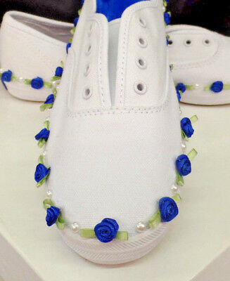 Bride Something Blue Wedding Bridal Sneakers - Custom Designed Pearls Flowers
