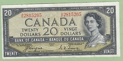 1954 Bank of Canada 20 Dollar Note Devil's Face -  Coyne/Towers - B/E2815265- VF