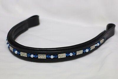 Delfina Butterfly, Blue Crystal, & Pearl on Black Straight Leather Browband