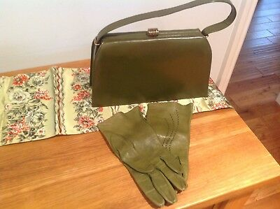 Green vintage leather grab bag plus green gloves and scarf