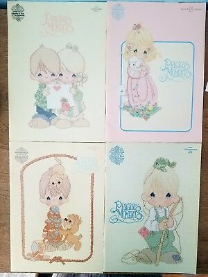 Precious moments cross stitch books, vintage lot of 4