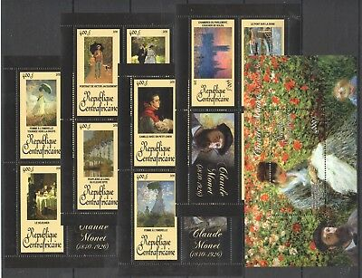 G1 2011 Centrafricaine Art Claude Monet All Paintings 4Kb+1Bl  Mnh