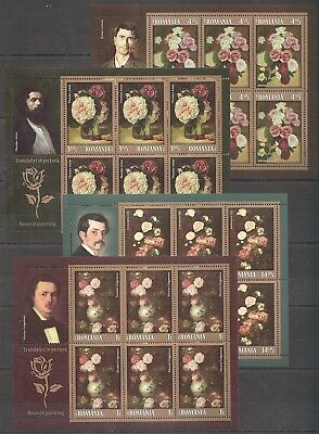 E959 2013 Romania Art Roses In Painting !!! Michel 100 Euro 4Kb Mnh
