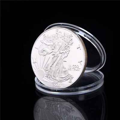 Silver Plated Liberty Eagle Commemorative Coin Collection Gift PL