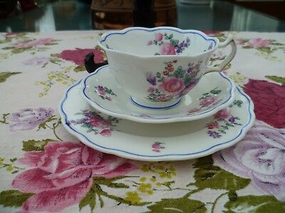 Vintage George Jones Crescent China Trio Tea Cup Saucer Mixed Flowers 19849