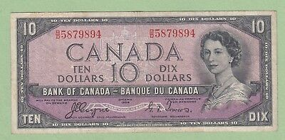 1954 Bank of Canada 10 Dollar Note Devil's Face - Coyne/Towers - B/D5879894-Fine
