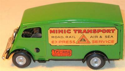 TRI-ANG MINIC CLOCKWORK No 103M SHUTTER VAN.IN GREEN 1950s.VERY GOOD CONDITION