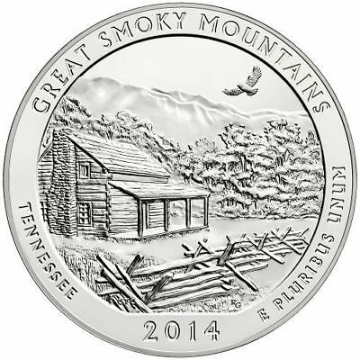 2014 - ATB 5oz Silver Great Smoky Mountains, Tennessee, BOX & COA - #10020