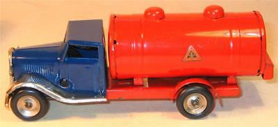 TRI-ANG MINIC CLOCKWORK No 15M PETROL TANKER.IN BLUE AND RED 1950s.VERY GOOD