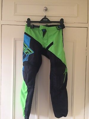 Fly Racing Youth Childs Kids Motocross Trousers Size 26 Blue Black Green