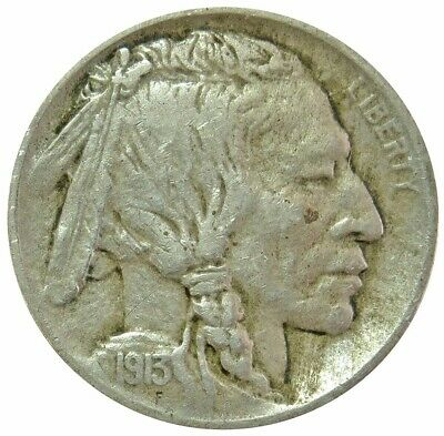1913 D United States Buffalo Nickel Coin Very Fine Condition Type I