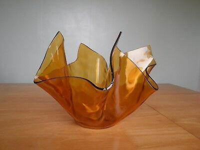 Retro Vintage Glass Handkerchief Vase