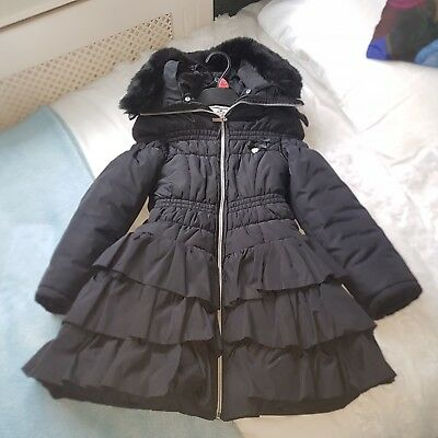 Black Le Chic frill coat fleece lined size 128 (approx age 6/7) good used con
