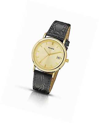 Accurist Men's Quartz Watch with Gold Dial Analogue Display and Black Leather St