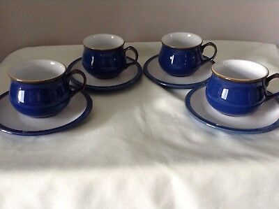 Denby Imperial Blue Cups and Saucers x 4