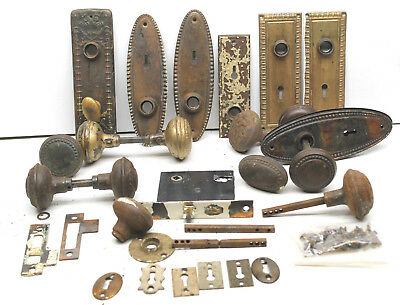 Antique Door Knob+Locks Restoration Hardware Fancy Odd Parts Brass Metal Iron ++