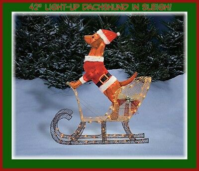 "Light-Up Dachshund Dog in Sleigh (42"") Holiday Christmas Santa Dachshund..."