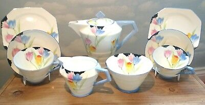 VINTAGE 1920's-1930's PARAGON ART DECO TEA FOR TWO TULIP HAND PAINTED TEA SET