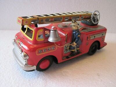Vintage 1950's TN Nomura Tin Litho Friction Toy Fire Dept Firetruck Japan