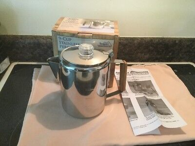 Texsport 9 Cup Stainless Steel Stove Top Percolator NEW In Box Camping
