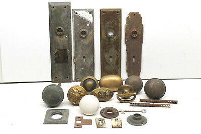 Antique Door Knob Lock Restoration Hardware Parts Lot Oversize Overweight Rare