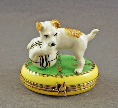 New French Limoges Trinket Box Jack Russell Terrier Dog Puppy On Green Rug